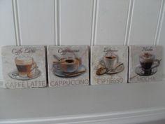 SHABBY SET OF 4 MARBLE COFFEE COASTERS CHIC MOCHA ESPRESSO CAFFE LATTE