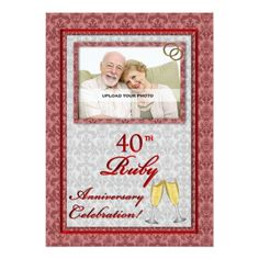 Ruby Wedding Anniversary Photo InvitationsIn our offer link above you will see 50th Anniversary Invitations, Wedding Anniversary Photos, Ruby Anniversary, Anniversary Parties, Wedding Invitations, Photo Invitations, Damask, Link, Store