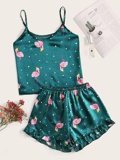 To find out about the Flamingo Print Polka Dot Satin Cami PJ Set at SHEIN, part of our latest Night Sets ready to shop online today! Cute Pajama Sets, Cute Pjs, Cute Pajamas, Pj Sets, Pyjama Satin, Satin Pajamas, Pyjamas, Cute Lazy Outfits, Casual Outfits