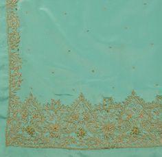 Sanskriti Vintage Indian Art Silk Saree Hand Beaded Sea Green Fabric Zari Sari