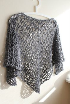 Handmade modern crochet vstitch shawl made by www.redheadcrochet.com - different colours available.