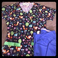 SCRUB BUNDLE!! Super fun scrub top and matching pants. Top is from uniform advantage and pants are sketchers. Both XS. Will to separate but would love to bundle. Make me an offer! Tops