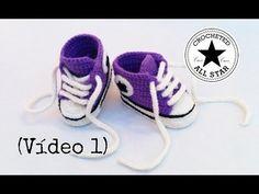 Cómo tejer Zapatillas, patucos, escarpines para bebé a crochet (1 de 2) - YouTube