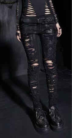 Hot Party clothing Gothic Fashion Women Pants Punk rave Black Hole design K141