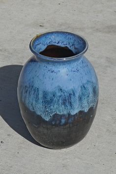 Black and Bright Sky Blue Vase  hand thrown by muddywaterscc