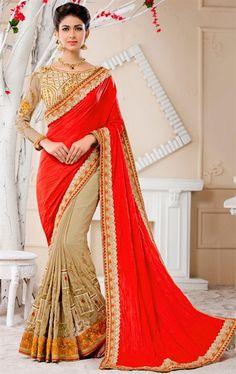 Attractive Red Chiffon Saree