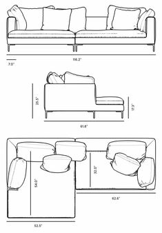 Dimensions for Hugo Sectional - May 18 2019 at Architecture Symbols, Interior Architecture Drawing, Interior Design Sketches, Architecture Design, Autocad, Furniture Plans, Furniture Design, Floor Plan Symbols, Drawing Furniture