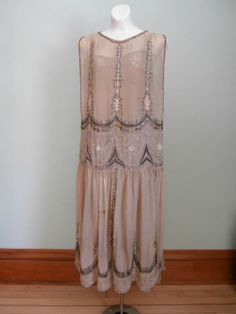 1920s pink beaded dress