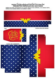 Caixa lixa de unha tag caixa sabonete Kit Presente Mae Maravilha para imprimir Wonder Woman Party, Paper Crafts, Symbols, Letters, Templates, Creative, Diy, Women, Birthday