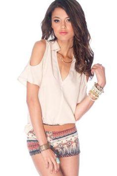 Jenna Cold Shoulder Top in Oyster :: tobi