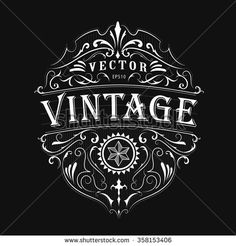 Antique Label Typography Vintage Frame Design Vector - 358153406 : Shutterstock