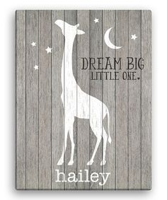 Look at this #zulilyfind! Gray Giraffe 'Dream Big Little One' Personalized Giraffe Canvas #zulilyfinds