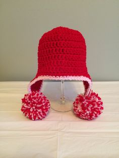 Crochet Baby Hat, Valentines Day Beanie, Baby Girl Hat, Red Knit Beanie, 3 month size, Baby Shower Gift, Ready to Ship, Photo Prop by QuinnsBin on Etsy https://www.etsy.com/listing/216923531/crochet-baby-hat-valentines-day-beanie