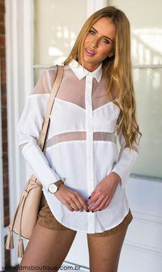 Camisa Branca com Tule - DMS Boutique