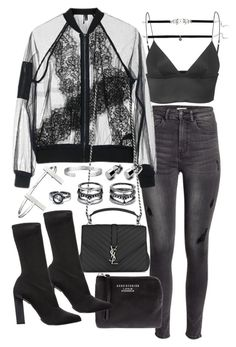"""""""Untitled #20153"""" by florencia95 ❤ liked on Polyvore featuring H&M, Topshop, T By Alexander Wang, Yves Saint Laurent, Acne Studios, Calvin Klein Collection, LULUS, French Connection and Cartier"""