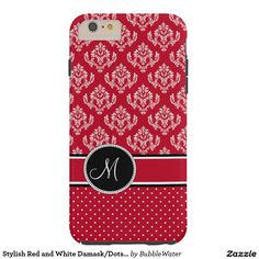 Stylish Red and White Damask/Dots iPhone 6 Case