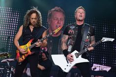 Kirk Hammett and James Hetfield of Metallica perform during the 2013 Orion Music + More Festival at Belle Isle Park on June 9, 2013 in Detroit, Michigan.