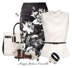 """""""Floral Print"""" by maggie-jackson-carvalho ❤ liked on Polyvore featuring Yves Saint Laurent, Roberto Cavalli, Rochas, Miss Selfridge, Lanvin, Dorothy Perkins and Wallis"""
