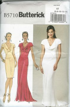 Butterick Sewing Pattern 5710 Misses' Dress. This pattern also sold as Butterick Pattern Description: Close-fitting, lined, bias dress has fr Formal Dress Patterns, Wedding Dress Patterns, Wedding Bridesmaid Dresses, Bridal Dresses, Bridesmaids, Wedding Gowns, Royal Wedding Pippa Middleton, Bias Cut Dress, Bridal And Formal