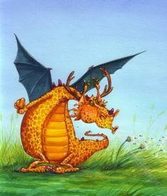 orange dragon blowing a dandelion clock Fantasy Dragon, Dragon Art, Children's Book Illustration, Illustrations, Fantasy Creatures, Mythical Creatures, Dragon Pictures, Cute Dragons, 3d Character