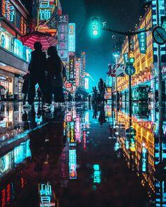 on Nanjing Road Cyberpunk Aesthetic, Arte Cyberpunk, Cyberpunk City, Neon Aesthetic, Night Aesthetic, Cyberpunk Fashion, Cyberpunk 2077, Urban Photography, Night Photography