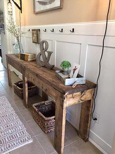 Cute Farmhouse Style Entry Way Table   TV Console   Rustic Table   Farmhouse Table   Foyer Table   Wood Table   Sofa Table #ad #farmhouse #homedecor