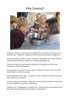 Why Cooking is important to learning and development