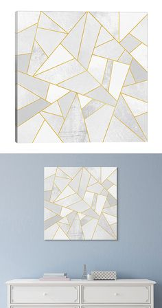 Dare to be abstract. Covered in a gorgeous gray and gold trimmed geometric design, this Shaping Up Canvas Print will easily add intrigue to any modern room. Produced with anti-fade Epson Ultrachrome in...  Find the Shaping Up Canvas Print, as seen in the New Arrivals Collection at http://dotandbo.com/collections/new-arrivals-7-slash-5?utm_source=pinterest&utm_medium=organic&db_sku=126482