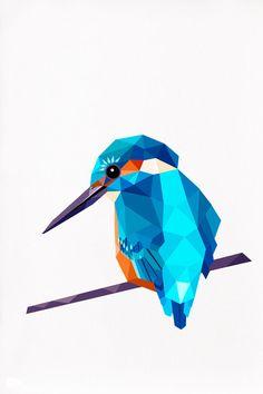 Kingfisher 2 Geometric illustration animal print by tinykiwiprints,