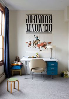 """""""Our son's playroom: my old Herman Miller desk, Knoll chair...."""" Oh I'm sorry just one quick question: who has an 'old Herman Miller desk'? #jealous"""