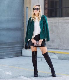 Green jacket, black mini, over the knee boots, sparkly bag •  www.mystylediaries.com
