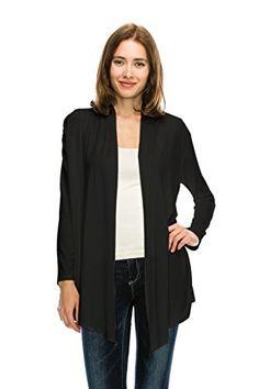 Womens Easy Wear Super Soft Open Drape Long Knit Sleeve Cardigan Made in USA
