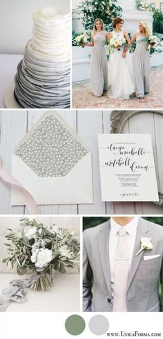 Grey and green Neutral wedding colors White groomsmen Calligraphy invitations Colorless wedding Natural color wedding Greenery wedding Grey Wedding Theme, Neutral Wedding Colors, Sage Wedding, Wedding Color Schemes, Wedding Themes, Our Wedding, Dream Wedding, Wedding Decorations, Wedding Greenery