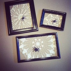 Spiders on doilies in antique frames. A simple and affordable home decor idea for Halloween or year-round.