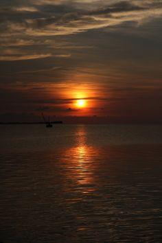Sunset in karimunjawa island, indonesia