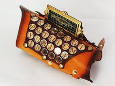 Steampunk Captain's Typewriter Key Arm Guard  *wonder if my amazing leather artist can replicate this for me? -S