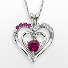 Sterling Silver Ruby & White Sapphire Heart Pendant