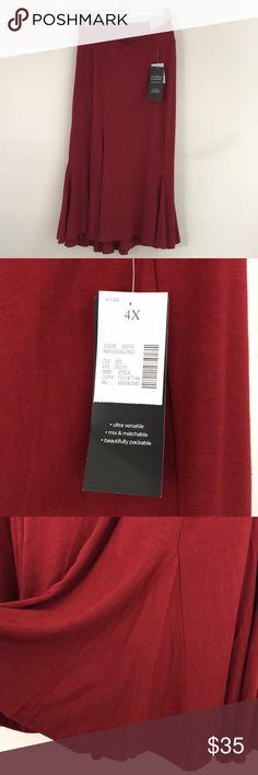 Beautiful burgundy NWT Skirt by Catherine's Deep burgundy in color and a soft stretchy 93% Rayon and 7% Spandex blend. Tax size 4X. No flaws Catherines Skirts A-Line or Full