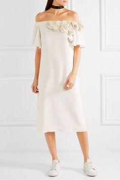 Maggie Marilyn - Jesse Cooper Ruffled Silk Crepe De Chine Dress - Off-white