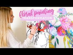 I hope you enjoy watching this floral painting transform! I paint in a lot of layers, so this was shot over two days. I use acrylic paints and have been expl. Painting Lessons, Painting For Kids, Diy Painting, Art Lessons, Painting Classes, Painting Videos, Acrylic Flowers, Abstract Flowers, Paint Flowers