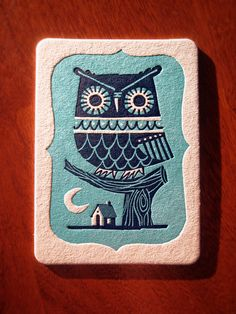 Winter Owl letterpress postcard by inkpopstudio on Etsy, $6.99