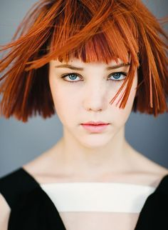 Blunt Red Bob with Straight Bangs