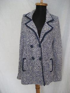 Anthropologie Angel of the North Knitted Sweater Blue White Caridgan Jacket sz L #AngeloftheNorth #Cardiganjacket