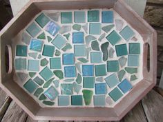 Sea Glass and Tile Mosaic Serving Tray by HomeSweetCoast on Etsy Mosaic Tray, Sea Glass Mosaic, Mosaic Tiles, Stained Glass, Painted Driftwood, Small Tiles, Home Living Room, Wood Crafts, Glass Art