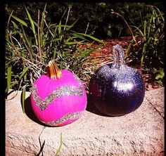 Glitter painted pumpkins
