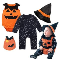 Newborn Baby Halloween Sleeveless Bodysuit  Romper with Magic Cap Clothing Set 03mo -- Read more  at the image link.Note:It is affiliate link to Amazon.