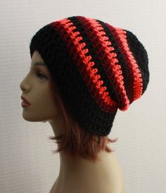 e7f80a4380700 Unisex Crochet Hat Slouchy Beanie Black Striped Hat