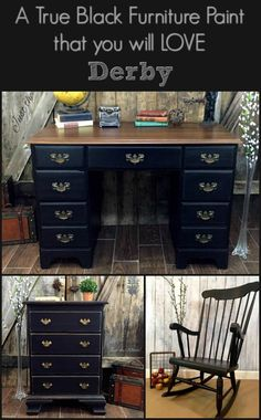If you are looking for a true black paint fur painting furniture or any diy project, DERBY is a non toxic quality chalky paint that is pure black.