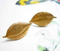 Small Leaf Earrings  Vintage Brass  Autumn  Fall  by NaturalGlam, $20.00