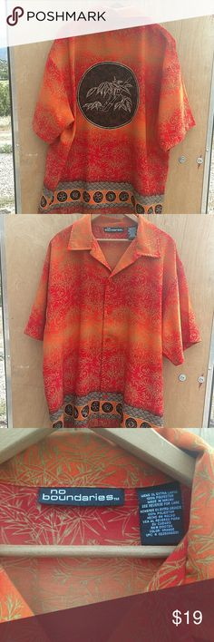 "NO BOUNDARIES MEN'S HAWAIIAN LOUNGE CAMP SHIRT NO BOUNDARIES MEN'S HAWAIIAN LOUNGE CAMP POLYNESIAN SHIRT WITH BAMBOO PRINT  SIZE XL ARMPIT TO ARMPIT: 25"" BASE OF COLLAR TO HEM: 30""  EXCELLENT USED CONDITION WITH NO RIPS TEARS OR STAINS  #791 No Boundaries Shirts Casual Button Down Shirts"